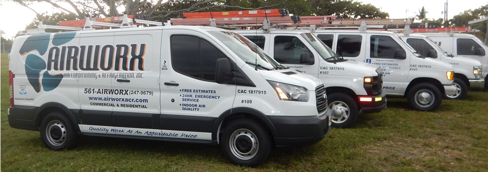 Airworx Air Conditioning Repair Trucks in Palm beach County Florida