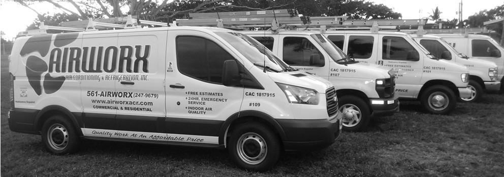 Airworx Air Conditioning Repair Trucks in Palm beach County Florida
