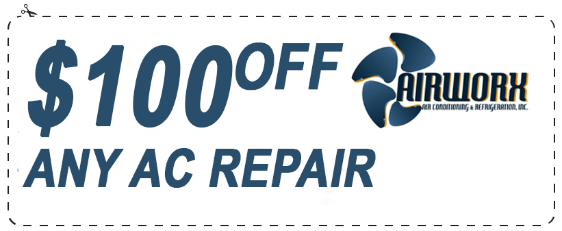 Coupon for $100 off on Any AC Repair Service by Airworx